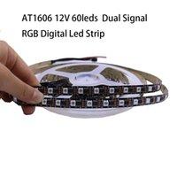 개별적으로 어드레싱 할 수있는 AT1606 60LS 디지털 RGB LED 스트립 12V 브레이크 포인트 계속 IC 프로그램 가능한 듀얼 신호 1606 테이프