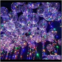 Event Festive Supplies Home Garden Drop Delivery 2021 Led Balloons Night Light Up Toys Clear String Lights Flasher Transparent Bobo Balls Bal