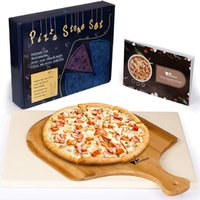 Amzdeal Pizza Stone, Cordierite, with Free Bamboo wooden Peel, Durable, for grill and oven bread, BBQ, pans, recipes included, 15x12 Inch Rectangular