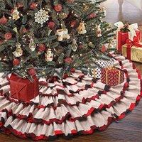 48inch 프릴 에지 크리스마스 트리 스커트 크리스마스 트리 바닥 아래 라운드 카펫 매트 격자 무늬 삼베 랩 크리스마스 트리 스커트 새 해 장식 G0925