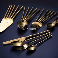 Altın çatal bıçak takımı seti paslanmaz çelik tam akşam yemeği sofra flateware silverware yemek
