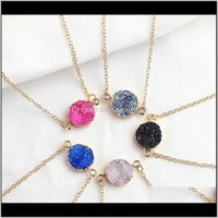 Design Resin Druzy Necklaces 5 Colors Gold Plated Geometry Stone Pendant Necklace For Elegant Women Girls Fashion Jewelry Hrt6V Wpahv