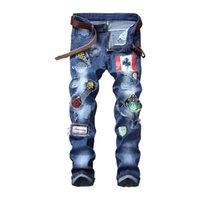 Мужские джинсы Новые проблемные разорванные Wshaed Skinny Slim прямые джинсы моды мотоцикл мото байкер патчи байкер джинсовые брюки