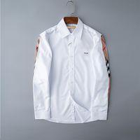 2021 Мужская рубашка Роскошный дизайнер мода тенденция носить с длинным рукавом бизнес повседневные бренд весна для похудения M-3XL # 01