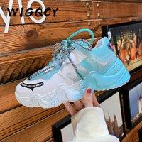 Женские кроссовки вулканизируют дышащие радуги смешанные цвета летние туфли мода повседневная рост рост женские коренастые дамы