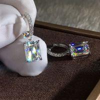 Dazzling Crystal Zircon Women Drop Earring Wedding Engagement Party Versatile Gorgeous Earring Classic Jewelry Best Gift