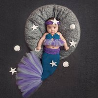 New-born Baby Girls Mermaid Used Set Cartoon 3Pcs Funcy Outfit For Kids Fashion Clothing Tops Headband and Places 210506