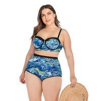 섹시한 하이 허리 비키니 세트 큰 유방 수영복 여성 수영복 푸시 위로 칠해진 수영복 Maillot de Bain Femme Plus 크기 L ~ 4XL 여성