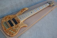 ASH body 6 strings Electric Bass Guitar with Maple Fretboard,Gold Hardware,Burl veneer,Active pickups,Provide customized services