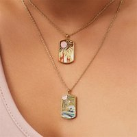 Chains Vintage Colorful Tarot Cards Necklaces For Women Man Gold Painting Necklace Water And Fire Pendant Creative Jewelry Gifts