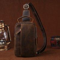 bags 100% Genuine Crazy Horse Leather Men's Sling Chest Day Pack Back Vintage Casual Messenger Bags Cross Body Cowhide Shoulder Bag