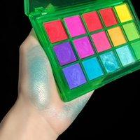 Eye Shadow 15Gird Box Lasting Fluorescent Matte Eyeshadow Neon Pigment Powder Halloween Decoration Palette