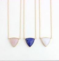 Squisita triangolo fatto a mano triangolo bianco rosa cristallo pietra lucidatura metallo druzy pietra naturale pietra rosa collane piramide collana pendenti
