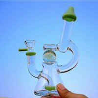 Slitted Donut Showerhead perc Hookahs 7Inch Bong 14mm Female Joint Glass Bongs Glow In The Dark Ball Water Pipe Oil Dab Rigs