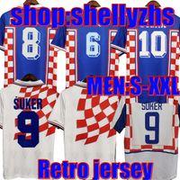 1998 2002 Copa do mundo Retro Jerseys de futebol Suker Boban Prosinecki 98 99 02 Clássico Vintage Casa Away Azul Branco Bilic Modric Hrvatska HNS Camisa Futebol Personalizado
