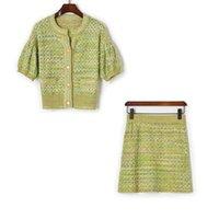 325 2021 봄 여름 브랜드 똑같은 스타일 두 조각 짧은 치마 크루 넥 짧은 소매 제국 격자 무늬 패션 여자 의류