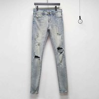 Fashion Outlet 21SS SLP jeans in the first year of destruction knife cut wash water in place high street slim high elastic Leggings men's wear