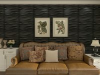 Art3d 50x50cm Black Wall Panels PVC Wave Board Textured Soundproof Self-adhesive for Living Room Bedroom (Pack of 12 Tiles)