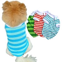 Dog Apparel Summer Clothes Vest T-shirt Stripe Dogs Goods For Puppy Colorful Blouses Suit Small Medium Polo