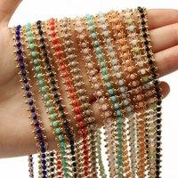Colore fatto a mano in acciaio inox in acciaio inox wireless rosario sfaccettato perline in pietra perline per braccialetti collana caviglia creazione di gioielli