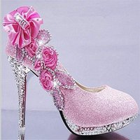 Dress Shoes Fashion Spring And Autumn Women's Crystal Shiny Flowers Wedding Ladies Rhinestones White Round Head High Heel
