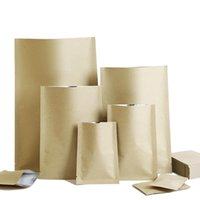 Storage Bags 100Pcs Brown Kraft Paper Aluminum Foil Open Top Bag Heat Vacuum Seal Tear Notch Ground Coffee Bean Snack Candy Pack Pouches