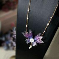 Синзри ручной работы натуральное жемчужное эпоксидное мастерство сияние бабочки кулон ожерелья креативные украшения