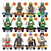 Kefeng KF6125 homem bloco de construção com skate pequeno conjunto de montagem de partículas Bolsa de boneca de tartaruga ninja