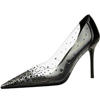 Luxury Summer Women's Spikaqueen Dress Shoes Sexy Pointed Toe Pumps Lady Red Bottom High Heels PVC Strass Party Wedding Bridal With Box,EU34-43