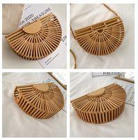 Fashion Half Moon Wooden Mini Purse Shoulder Crossbody Bags Kids Bamboo Woven Summer Beach Straw Rattan Messenger