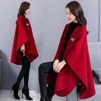 Frauen Wollmischungen Herbst und Winter Damenkape Wollmantel Gestrickte Rot Gezeitenschal Lange Jacke