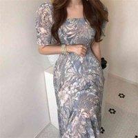 Summer Korean Vintage Printed Long Dress Women Short Sleeve Pleated Sukienka Elegant Chiffon Robe Femme 210513