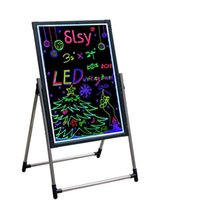 """Illuminated LED Message Writing Signs Board, 16""""X12"""" Erasable Neon Effect Menu Sign Board with Remote Control 7Colors Flashing Modes Light Up Boards"""