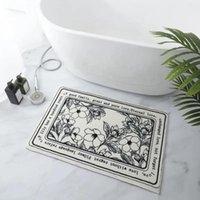 Carpets Non-Slip Bath Rug Absorbent Floor Mat Nordic Floral Carpet For Bathroom Bedroom Doormat Washable Kitchen Rugs Plush Foot Pad