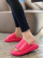 Stylishbox ~ T21032803 40 블랙 / 화이트 / 핑크 플랫 슬라이드 샌들 소프트 슬라이드 정품 가죽 양고기 피부 플랫폼 여름 신발 캐주얼 슬리퍼