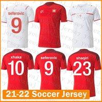 21 22 Футбол Джерси Швейцария Футбол Футболка Эмболо Maillot de Fepe Seferovic Rodriguez Мужские Фернандены Униформа Шакири Контрастный Цвет Синий