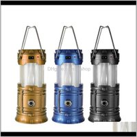 Portable Lanterns Led Camping Lantern Flashlights Collapsible Solar Tent Light Gear Equipment For Outdoor Hiking Emergencies Kxmag Zr9P0