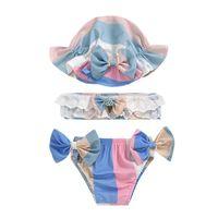 قطعتين ملابس أطفال الدعاوى الطفل السباحة الفتيات ملابس الأطفال ملابس الأطفال 3 قطع مجموعات القبعات السراويل قمم B5883