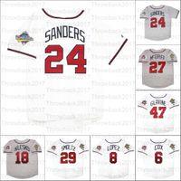 Retro Baseball 1992 1995 und 1999 Home Jersey 10 Chipper Jones 18 Ryan Klesko 24 Deion Sanders 27 Fred McGriff