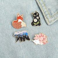 Hedgehog Black Cat Cartoon Animal Enamel Brooches Pin for Women Fashion Dress Coat Shirt Demin Metal Funny Brooch Pins Badges C3