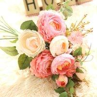 Flores decorativas guirnaldas top-artificial plantas falsas de seda arreglos de flor de rosa de seda buquets de boda decoraciones de plástico floral de la tabla