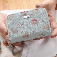 Card Holders Prettyzys Cute Bear Organ Style Zipper Small Case PU Leather ID Cardcase Mini Wallet Purses Bag