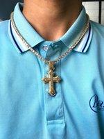 Luxury European and American Square Diamond Full Zircon Sword Cross Necklace Accessories Hip Hop Pendant