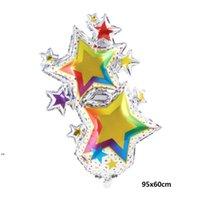 Büyük Kek Hediye Kutusu Mutlu Doğum Günü Balonları Parti Dekorasyon Gypsophila Renkli Yıldızlar Alüminyum Folyo Balon DWA7127