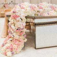 Decorative Flowers & Wreaths 2M Luxury Custom Artificial Floor Wedding Backdrop Decor Garland Flower Arrangement Table Runner Rarty Event Bi