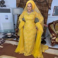 2022 Arabic Aso Ebi Style Yellow Full Lace Prom Dresses With Long Sleeves Sweep Train Plus Size Evening Occasion Gowns Robe De Soiree