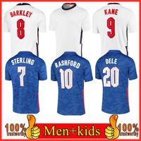 Rashford Soccer Jersey 2021 Kane Sanling Sancho Henderson Barkley Maguire 20 22 Chemises nationales de football Hommes + Kit Kit Ensembles Uniformes