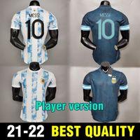 Jogador Versão Argentina Futebol Jerseys Dybala Maradona Messi Jersey Icardi di Maria Kun Aguero L.Martinez Lo Celso Camiseta de Argentina 2021 2022