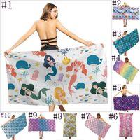 70*35CM Fashionable outdoor swimming bath towel Mermaid Beach Towel creative printing sunscreen shawl quick drying towels JJA137