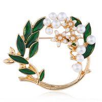 wzwd semplice corona di diamante intarsiato moda popolare moda versatile foglia verde perla seta spille sciarpa spilla pulsante spilla doppia bottone sciarpe piselli